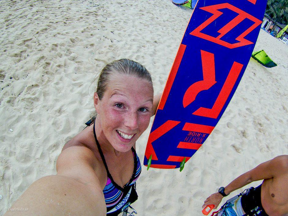 kitesurf selfie tjej