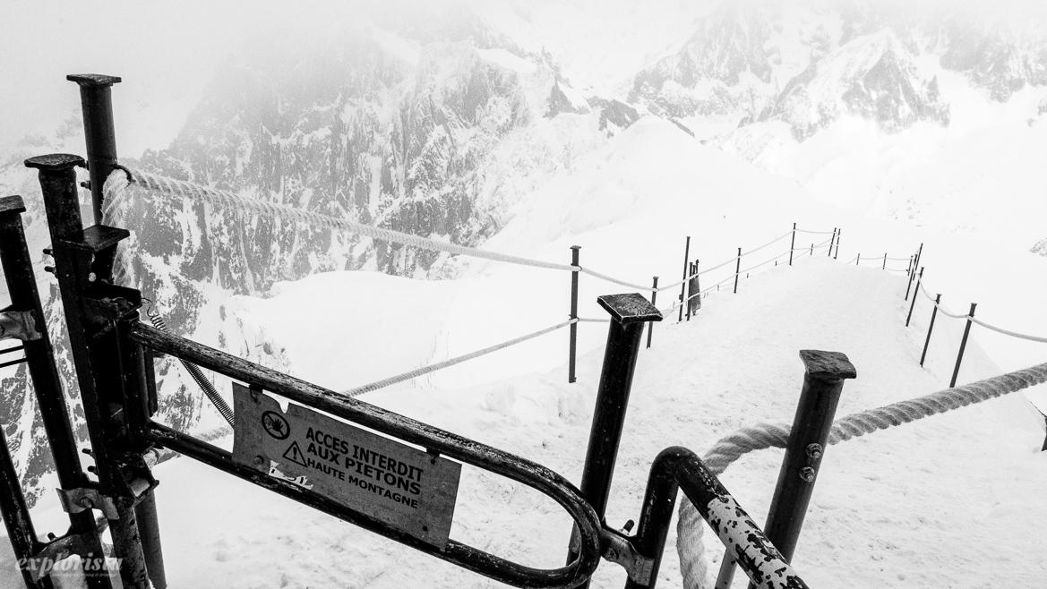 väg mot glaciären och valle blanche