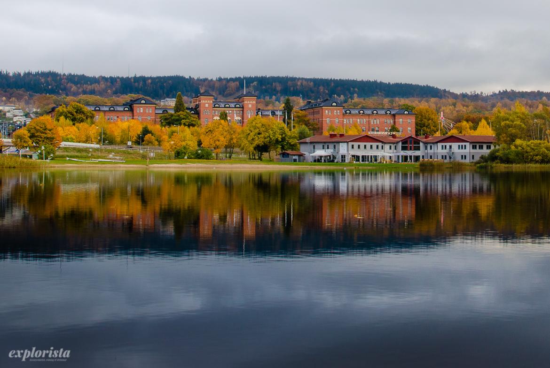 utsikt över rocksjön, höst i jönköping