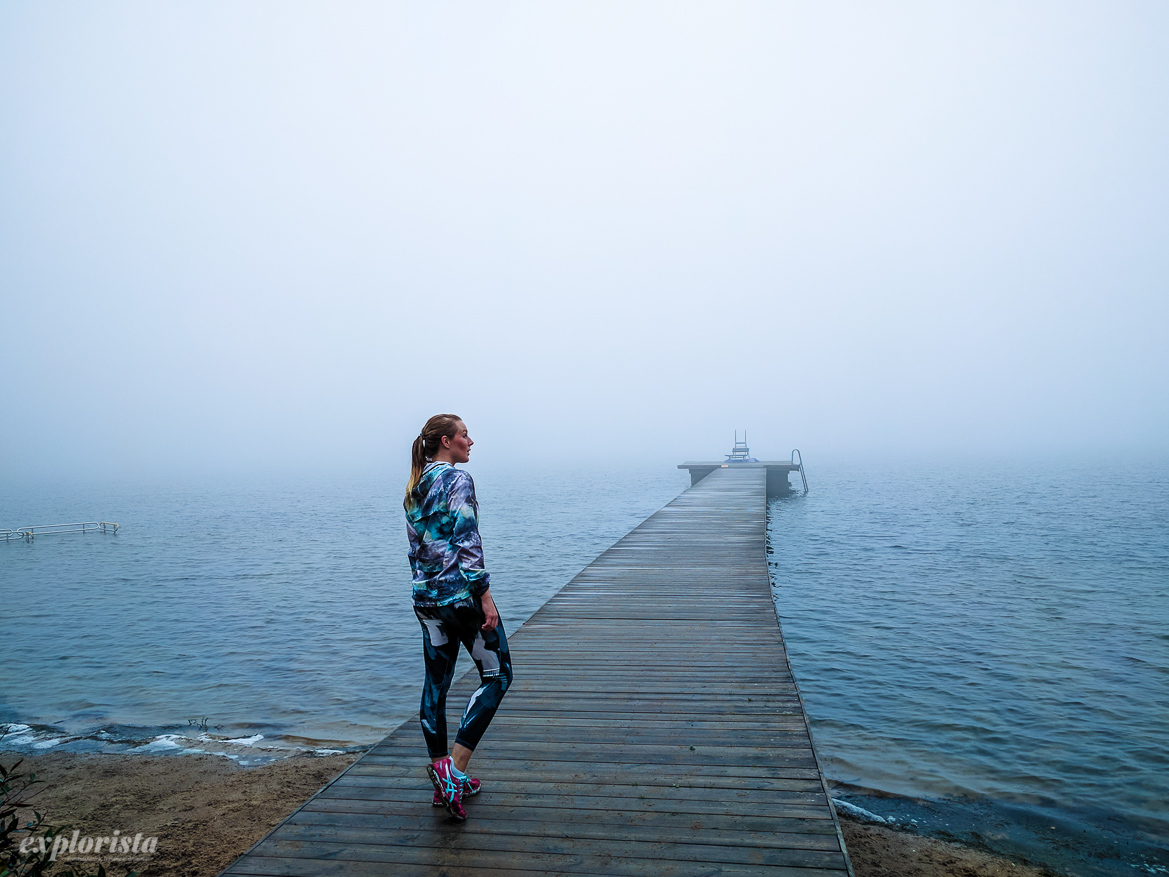 brygga ut i dimman löpare