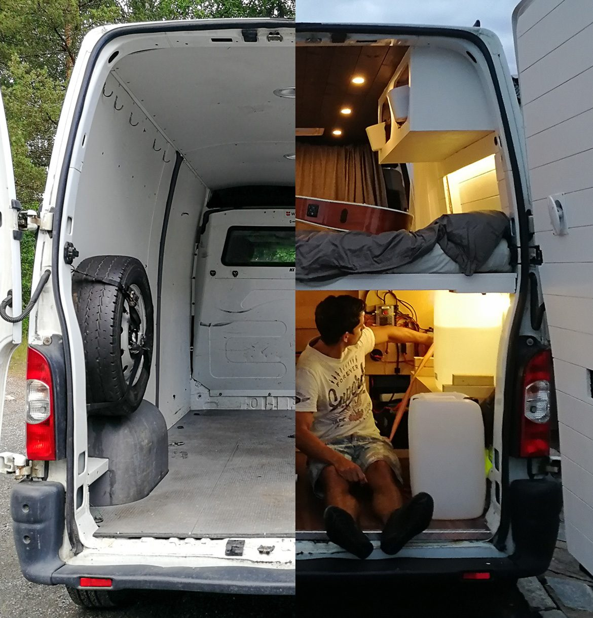 how to build a campervan-before-after