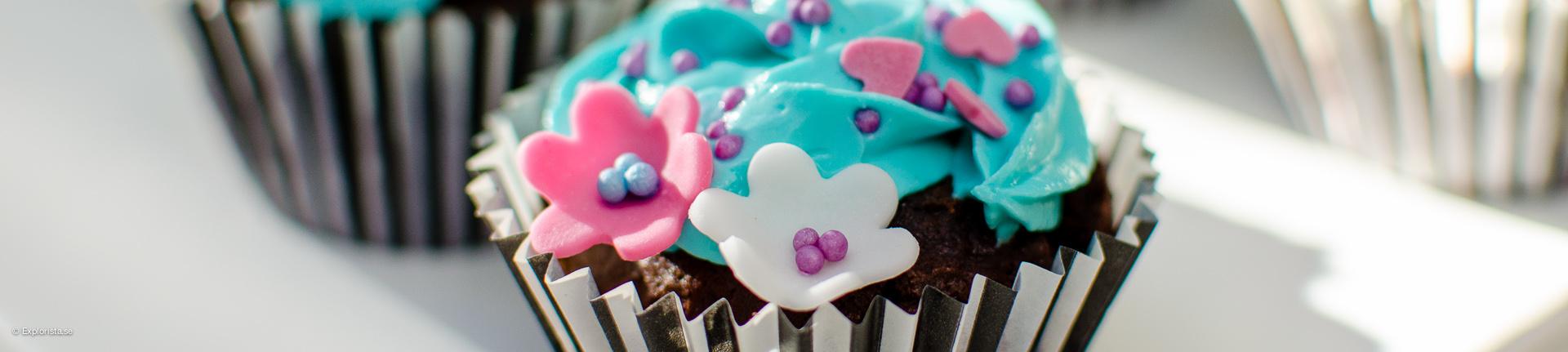 blå chokladcupcake