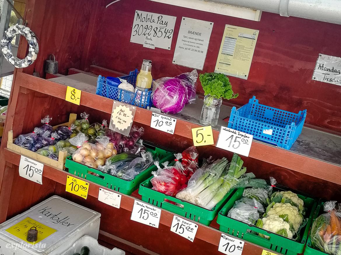 vägbutik danmark med grönsaker