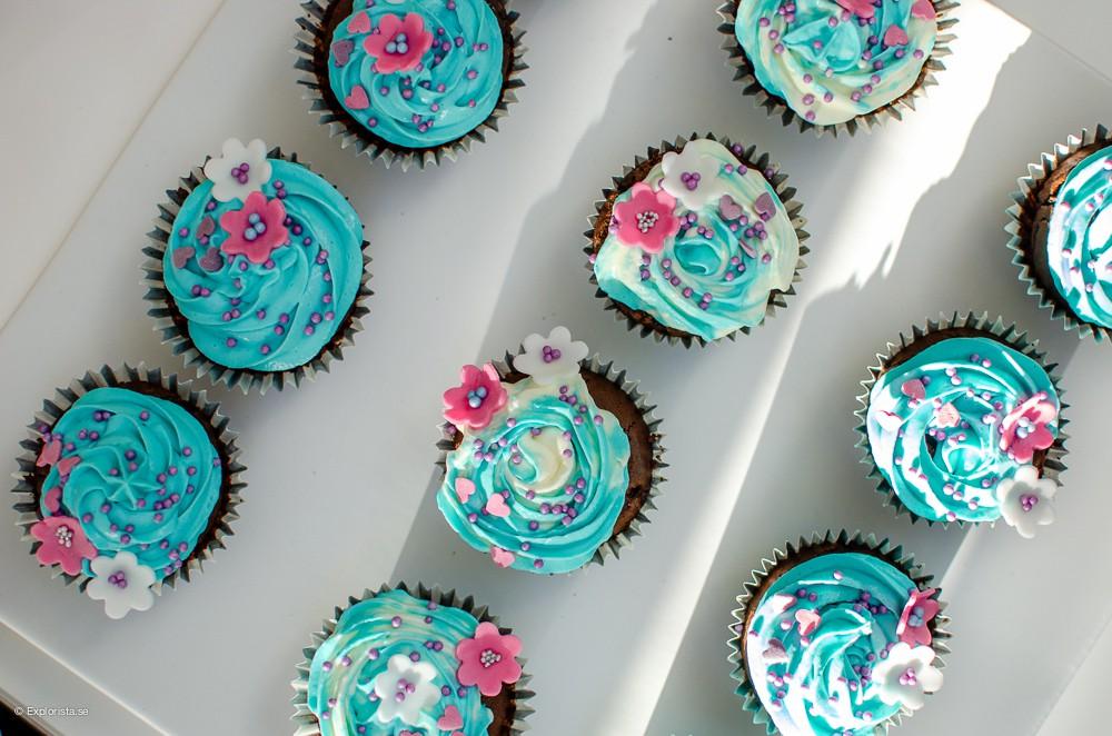 blå cupcake
