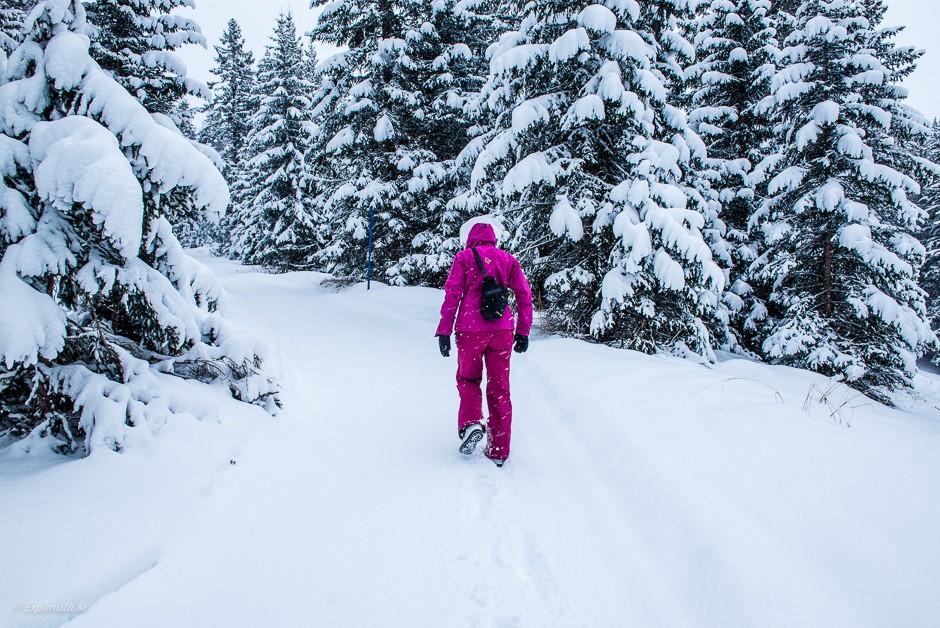 tjej går i snön