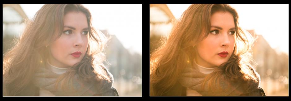 lightroom: före- och efterbilder porträtt tjej