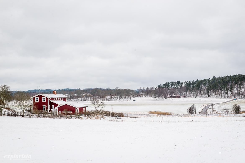 rött hus i vinterlandskap