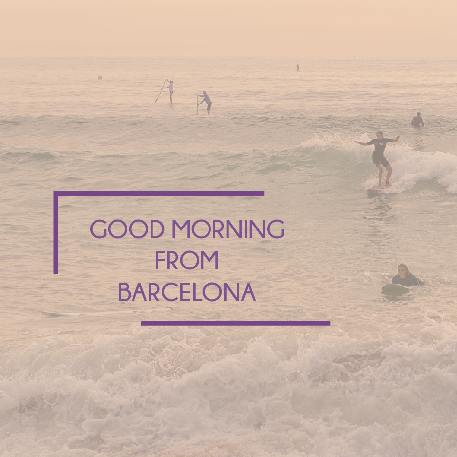 strand och text: good morning from barcelona