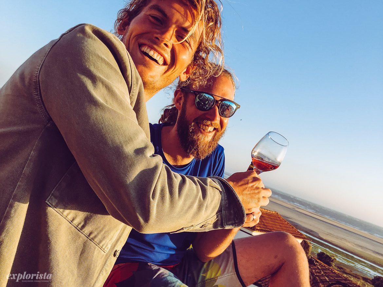 Good times, vin i solnedgången Lapoint kite camp Esposende