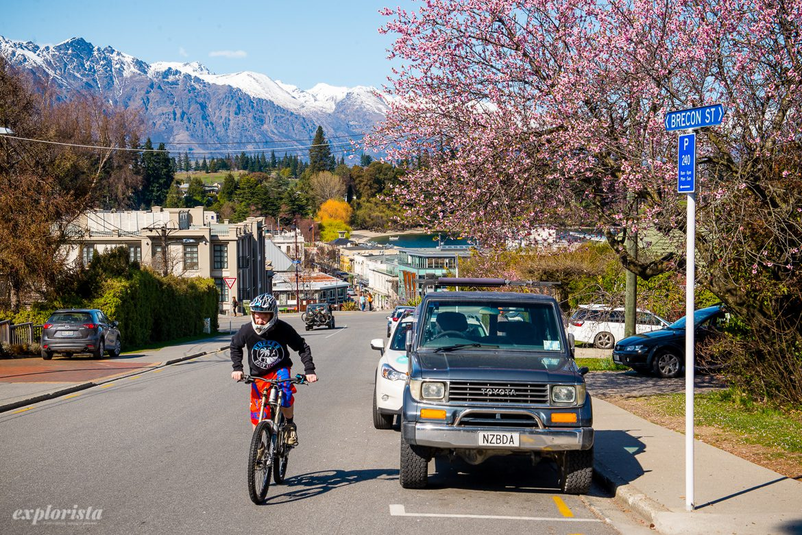 queenstown downhillcyklist med stad i bakgrunden