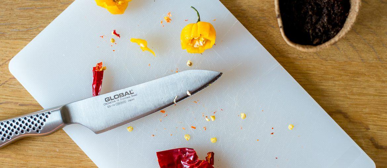 chiliodling kniv skärbräda