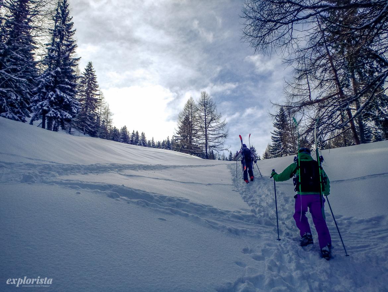 skidåkare med skidor på ryggen