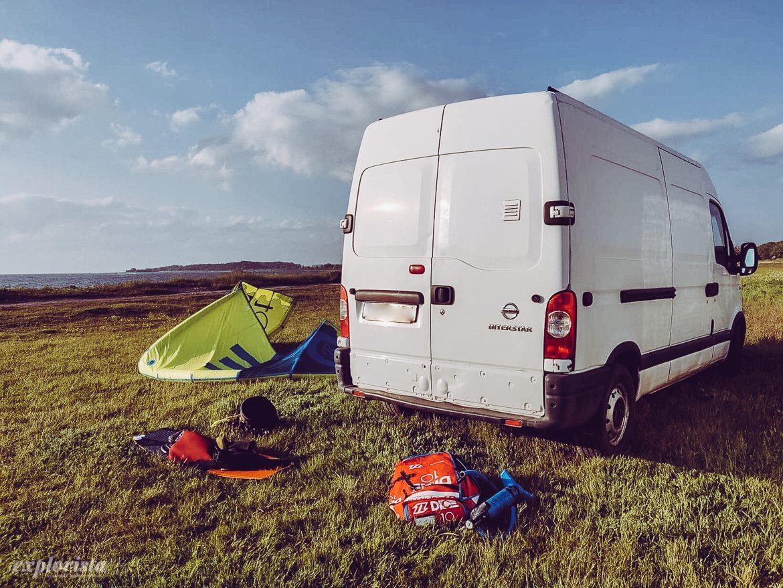 kitesurf och campervan