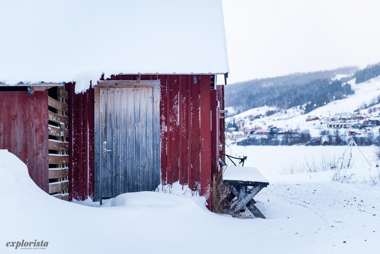 rött hus i snö