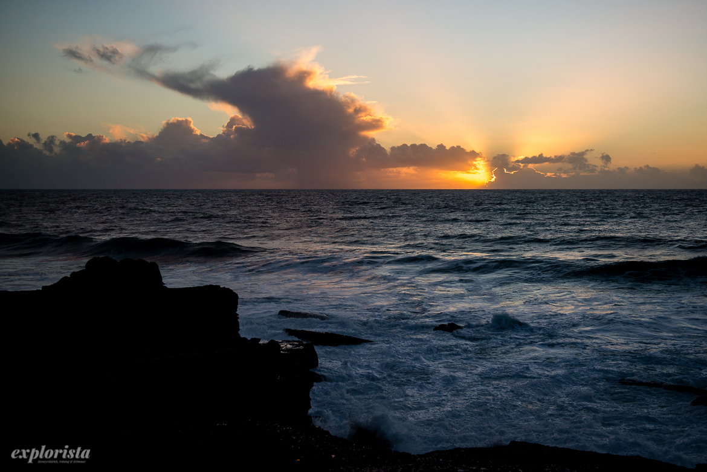 hav i solnedgång