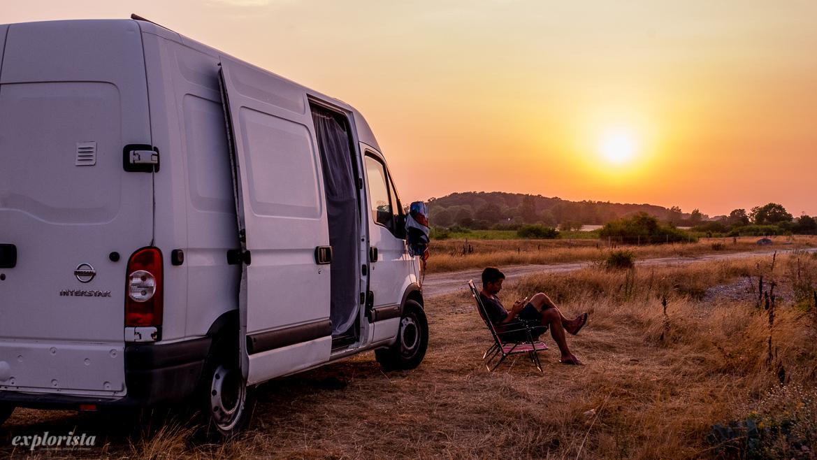 campervan i solnedgången