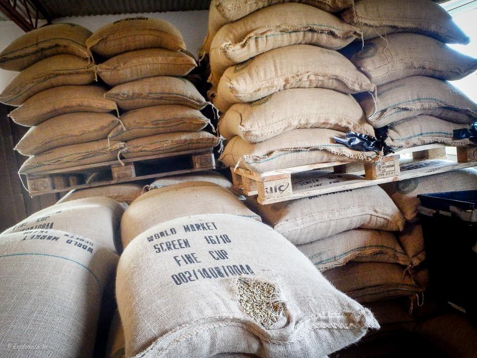 säck med kaffebönor