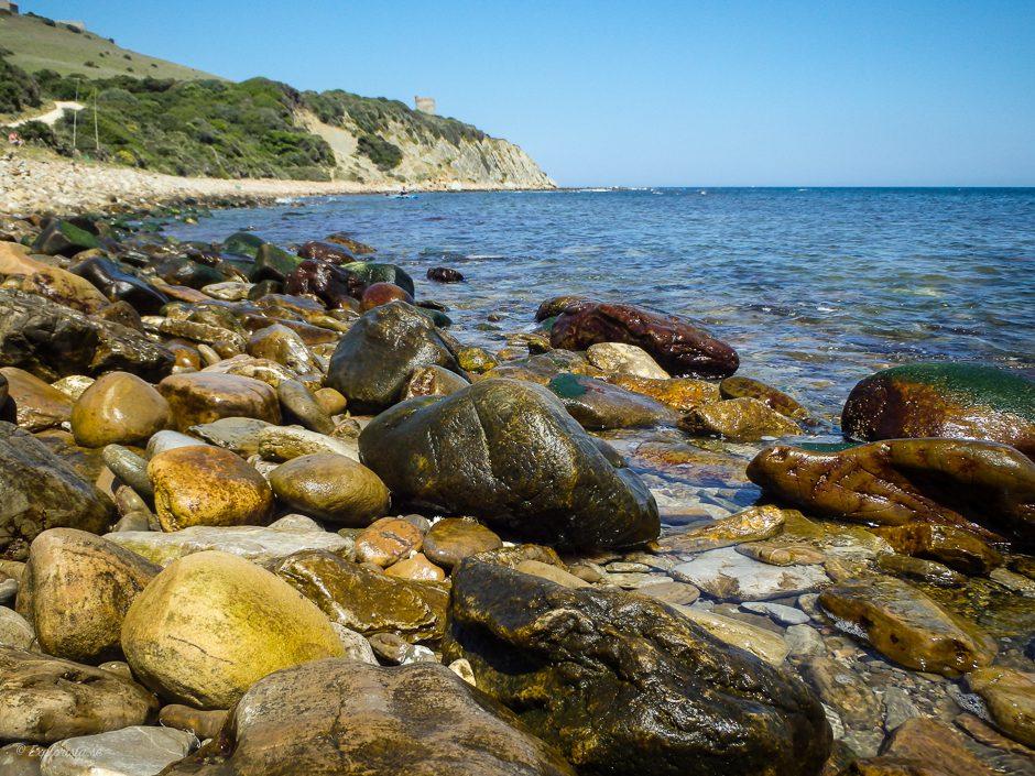 blöta stenar hav