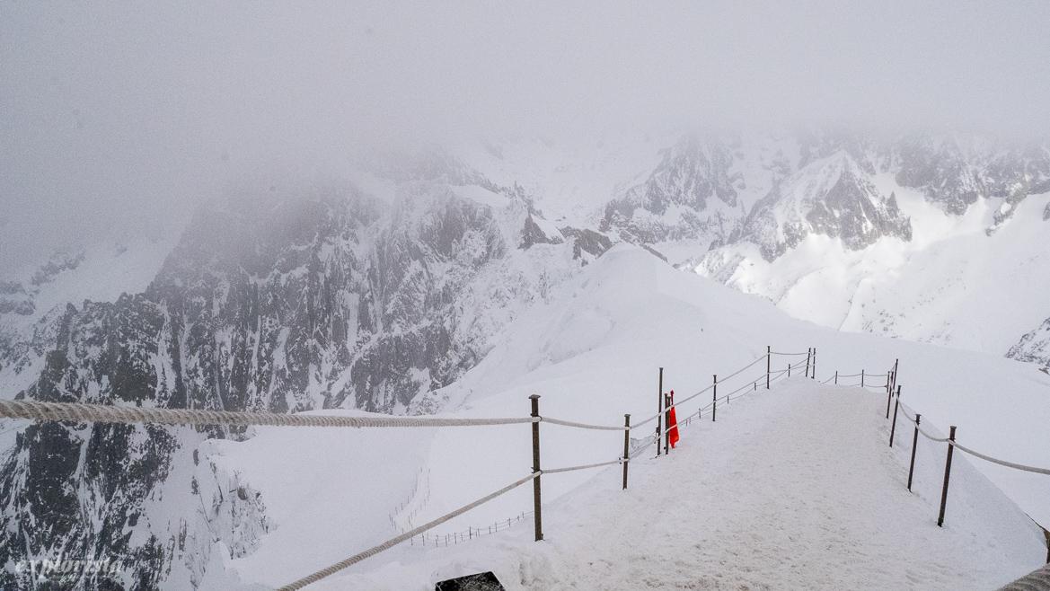 kammen från aiguille du midi mot glaciären