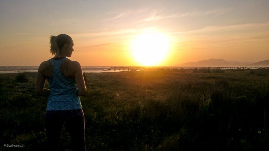 löpartjej solnedgång
