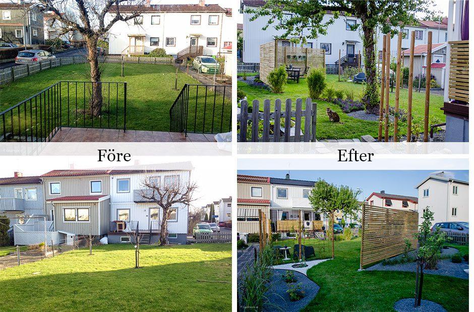 trädgårdsdesign före- och efterbild