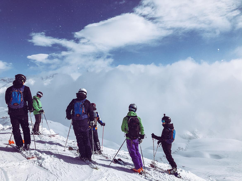 Offpiste skiers in Tignes