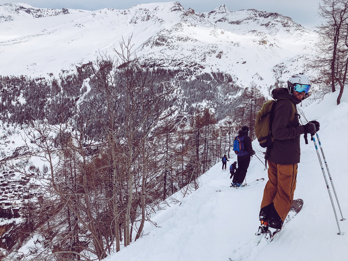 Forest skiing in Tignes