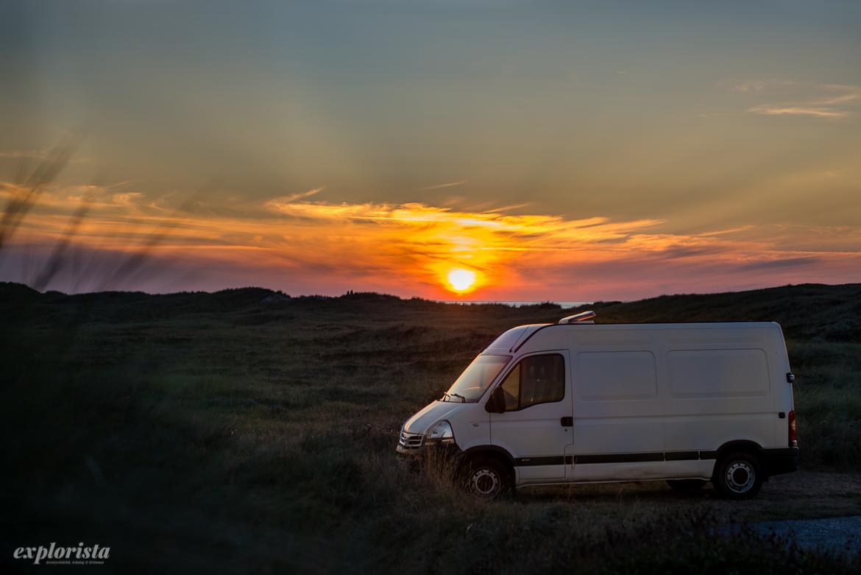 sunset & campervan
