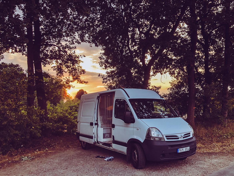 Campervan solnedgång