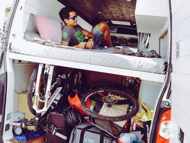 vanlife med kitesurf och mountainbikes explorista