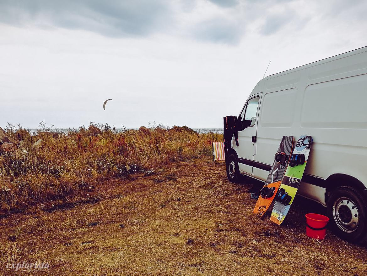 campervan och kiteboards