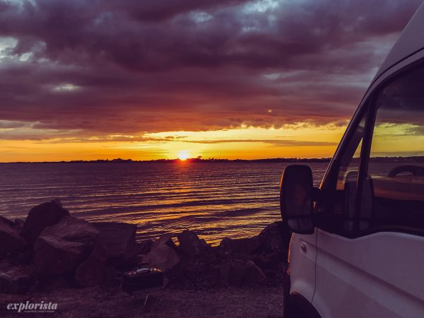 Campervan in sunset Läjet