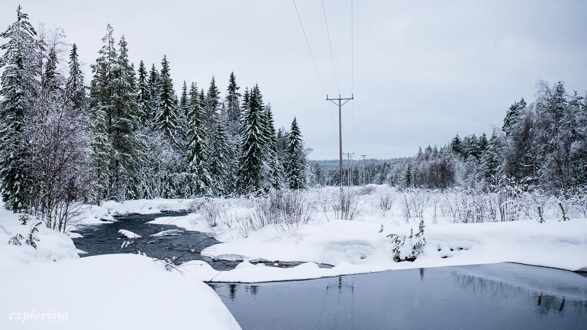 vinter tjärn snö